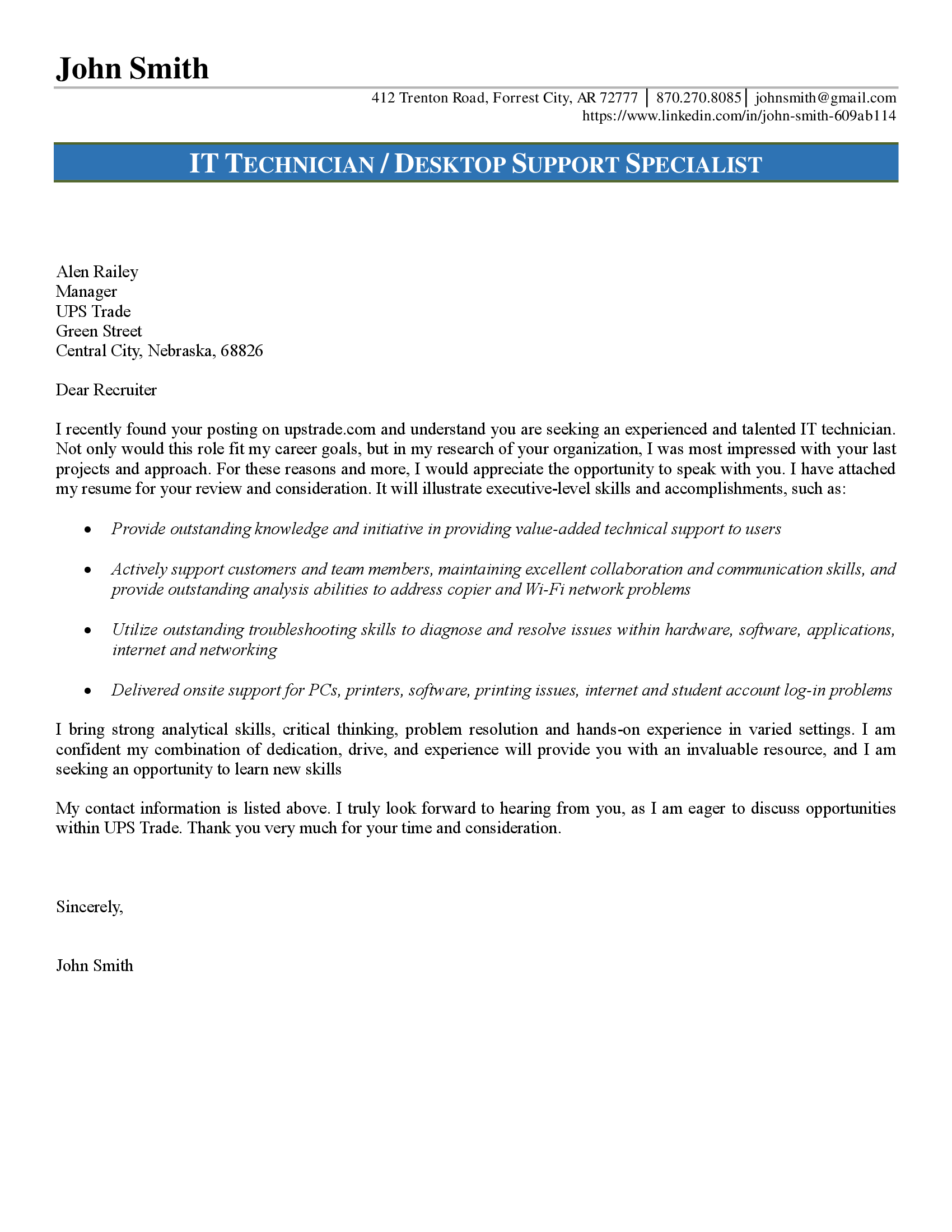 Cover Letter Technical Support Specialist