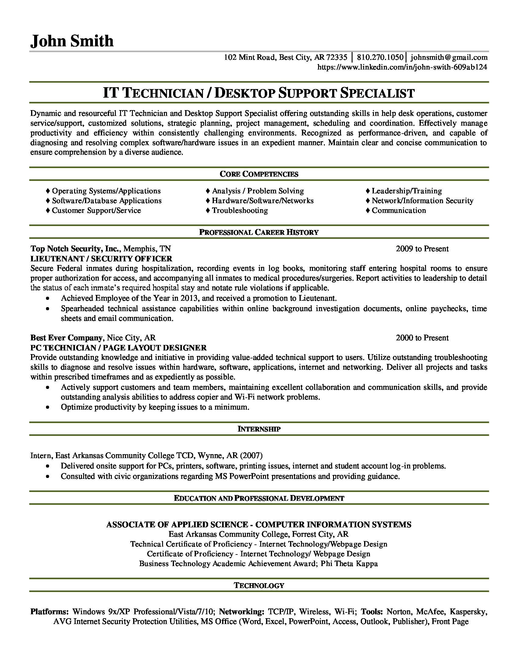 100 technical support specialist sle resume