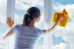 clean window glass lady back