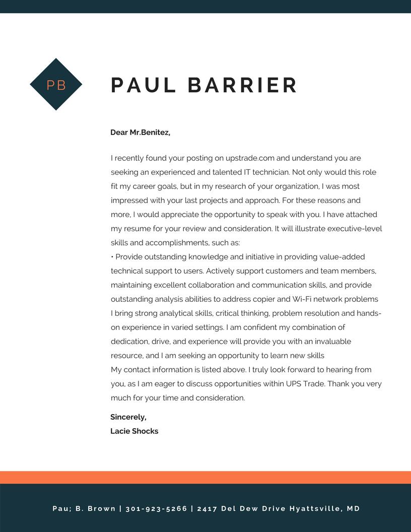 tech cover letter sample