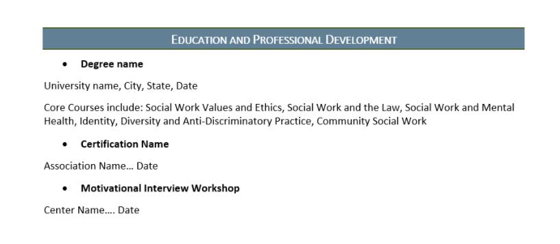 social work resume education