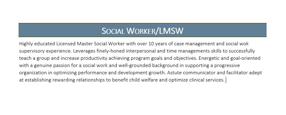 social work resume profile