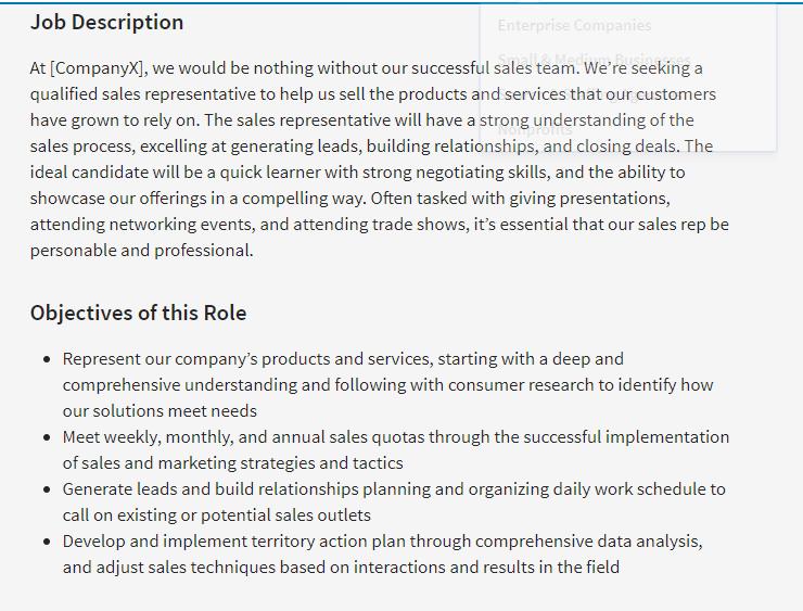 job description for sales representative resume
