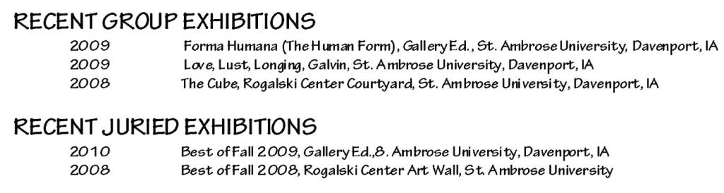 Exhibitions artist cv