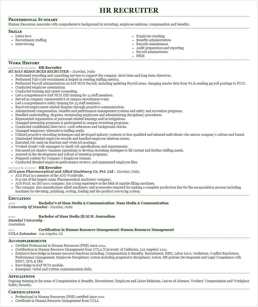 HR recruiter resume sample