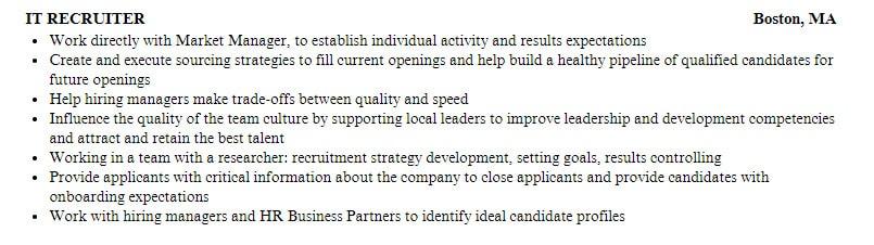 IT recruiter resume sample