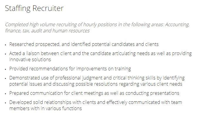 staffing recruiter resume example