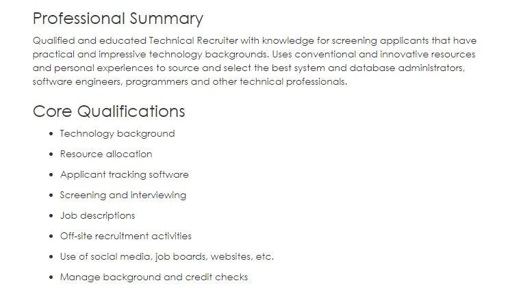 technical recruiter resume sample
