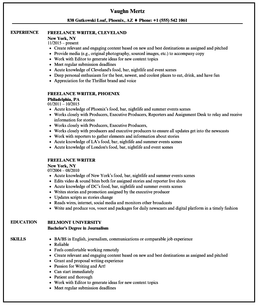 example of freelance position