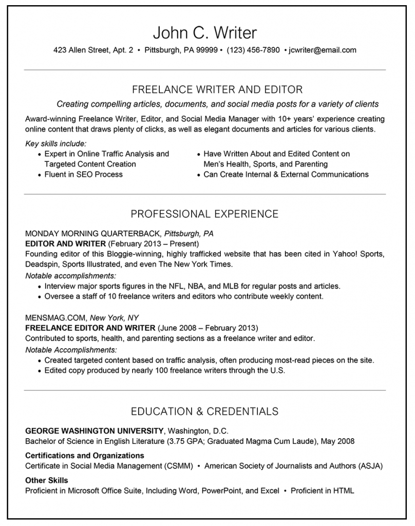 freelance on resume examples