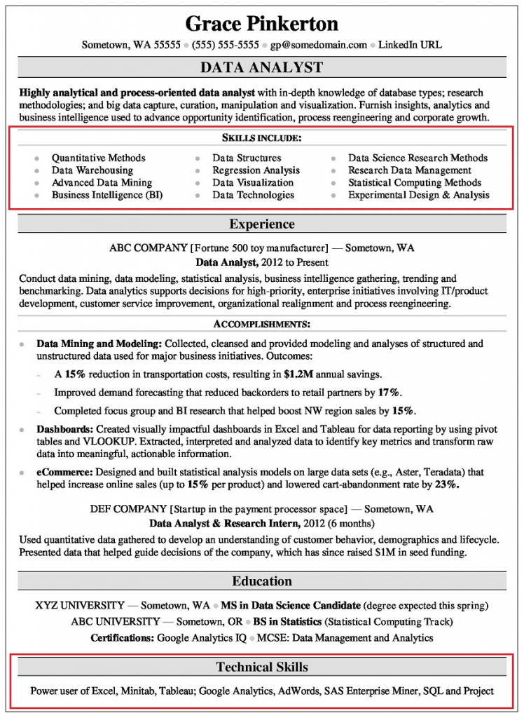 skill section on resume