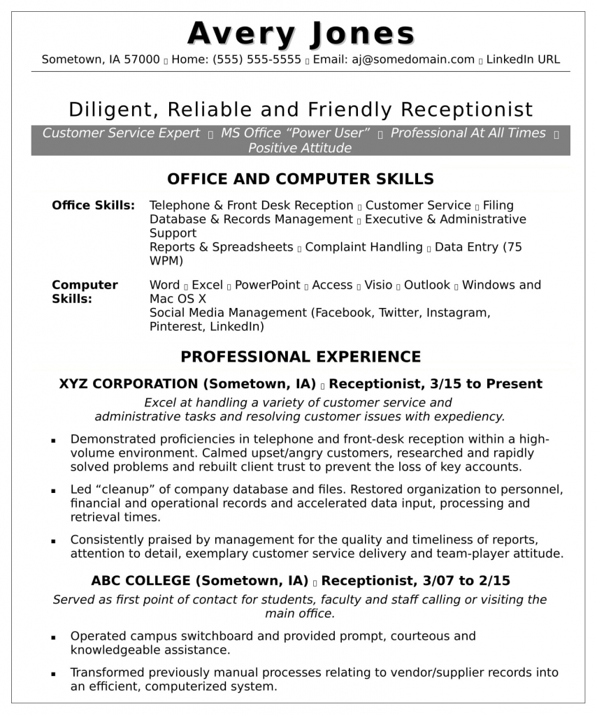 Resume for a front-desk team member