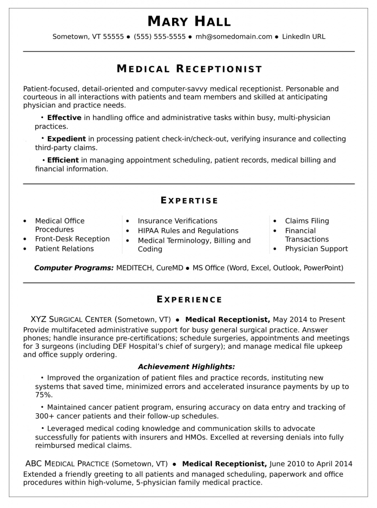 Resume for a medical industry