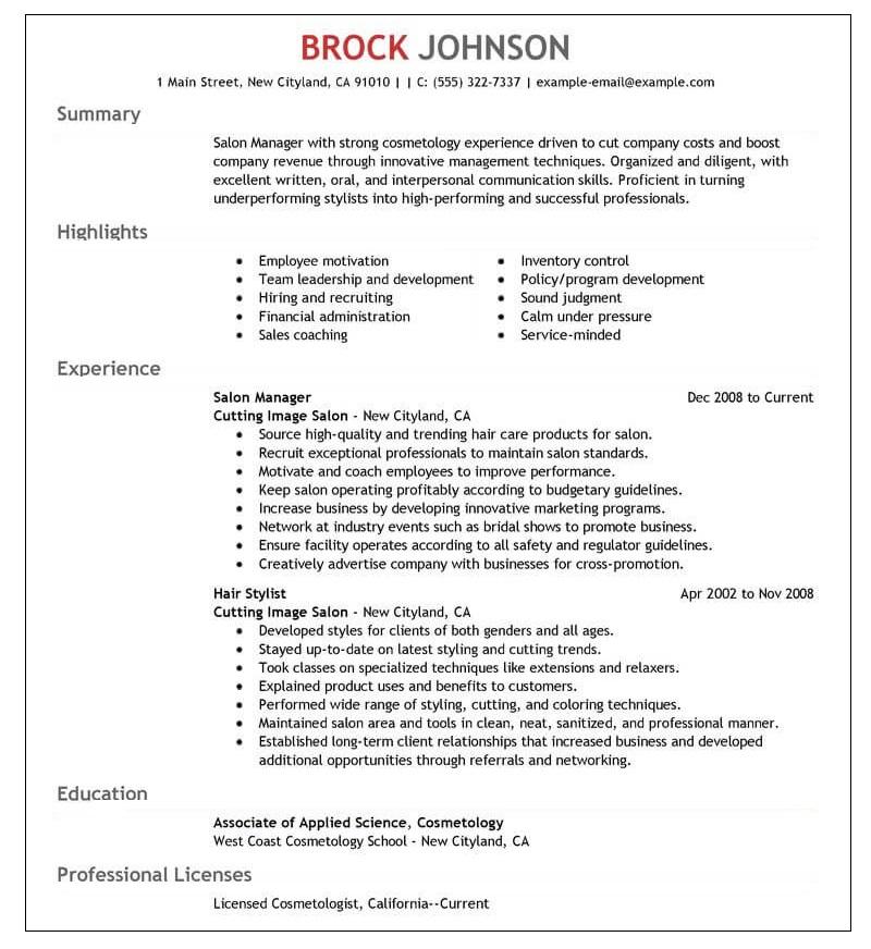 Resume for a beauty salon